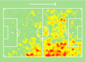 Podence´s heat map in the 2016-17 season