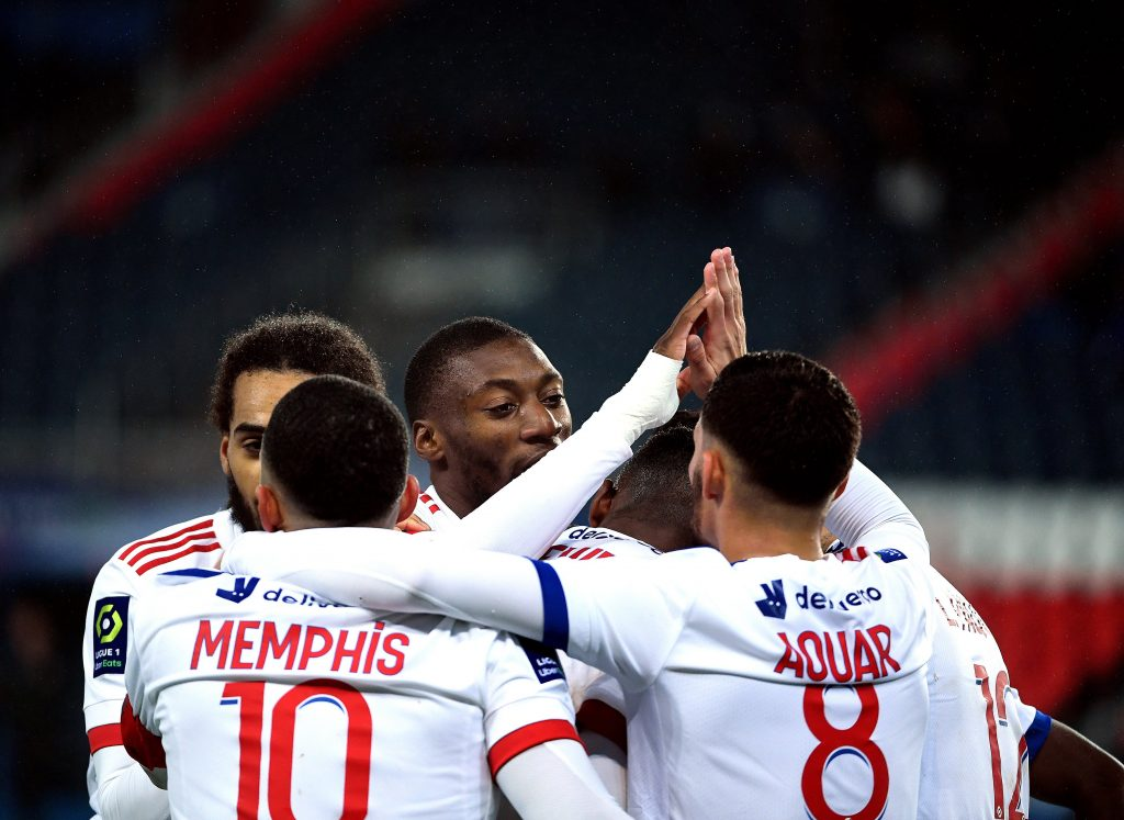 Lyon players in the match on December 13th against PSG/Ligue 1