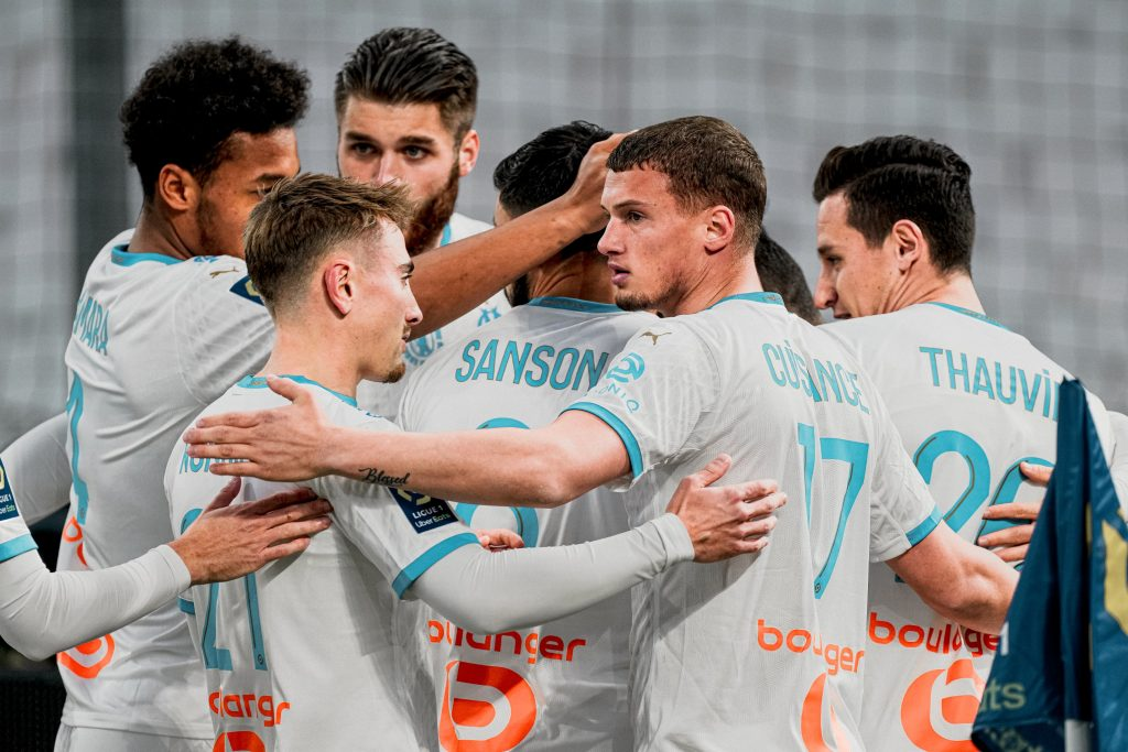Marseille players in the game against AS Monaco on December 12th/Ligue 1