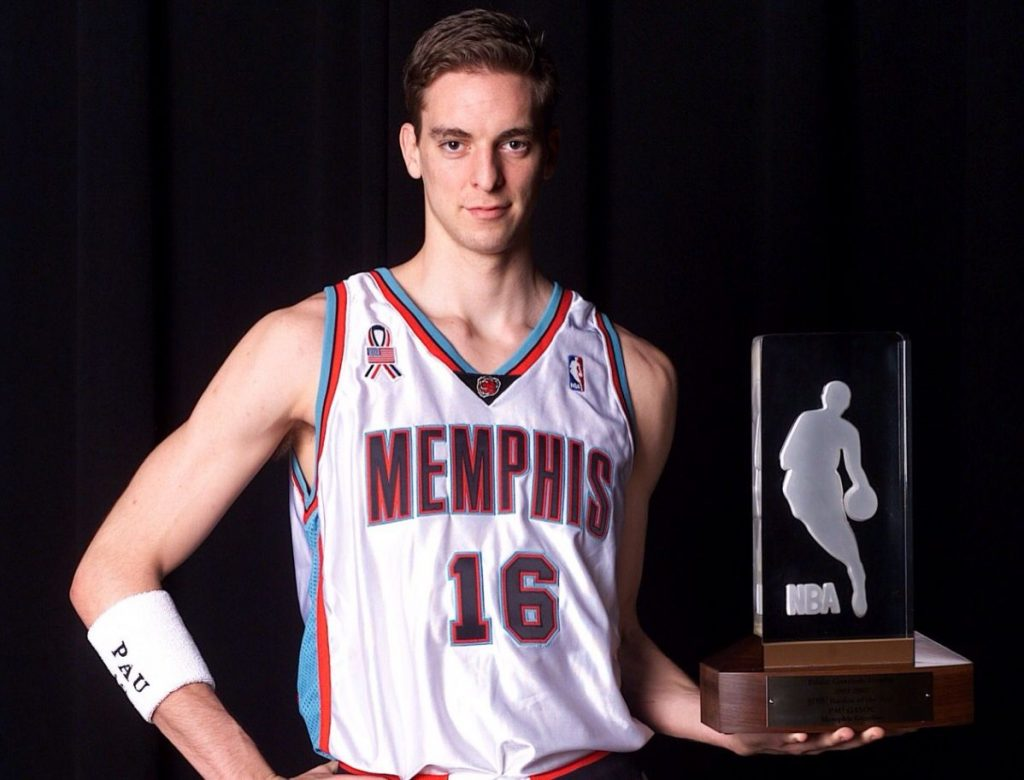 Pau Gasol holds the Rookie of the Year Award