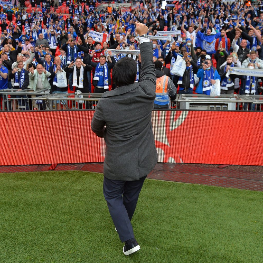 Khun Top celebrates the FA Cup with Leicester fans
